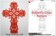 Butterfly cross, paper cutting pattern, template, Cross art
