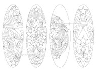 4 Printable Mandala Coloring Bookmarks,  oval shape, oval bookmarks