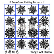 Instant Download-16 Snowflake true sized Cutting Patterns -1