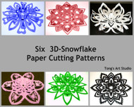 Instant Download-Six 3D-Snowflake Paper Cutting Patterns