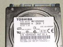 TOSHIBA MK1032GSX, HDD2D30 H ZK01 T, 100GB, SATA