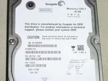 SEAGATE ST980811AS P/N:9S1132-506 FW:3.ALB WU 80GB SATA