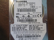 Toshiba MK4026GAX HDD2193 D ZK01 T 630 A0/PA102D 40gb IDE  (Donor for Parts)