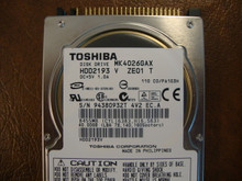 Toshiba MK4026GAX HDD2193 V ZE01 T 110 C0/PA103H 40gb IDE  (Donor for Parts) 94380932T