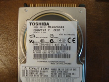 Toshiba MK4026GAX HDD2193 V ZK01 T 630 A0/PA100U 40gb IDE  (Donor for Parts) Z5BU4557T