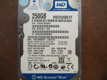 WD WD2500BEVT-24A23T0 DCM:HHCTJANB 250gb Sata (Donor for Parts)