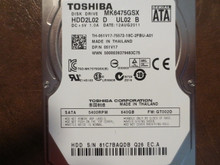 Toshiba MK6475GSX HDD2L02 D UL02 B FW:GT002D 640gb Sata (Donor for Parts) 81C7BAQDB