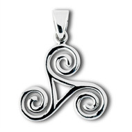 Sterling Silver Celtic Triskele Pendant Large