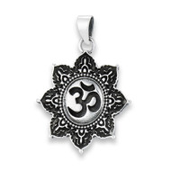 Sterling Silver OM in Lotus Pendant
