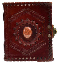 Stone Embossed leather blank book journal with latch