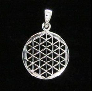 Sterling Silver Flower of Life 16.2mm-Open Pendant