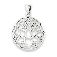 Sterling Silver Lotus Silhouette Pendant
