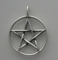 Sterling Silver 18mm Pentacle with Cast Bail Pendant