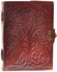 Wolf and tree leather journal with latch
