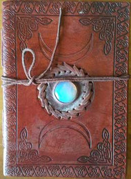 "5"" x 7"" Triple Moon with Stone Embossed leather w/ cord"