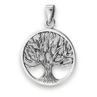 STERLING SILVER TREE OF LIFE PENDANT Carved