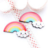 Kawaii Face Rainbow Flatback Resin Cabochon - 8 pieces