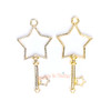 Star Key Open Bezel Gold Charm - 3 pcs
