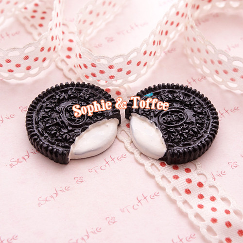 Cookies & Cream Biscuit Sweets Deco Kawaii Cabochon - 8 pieces