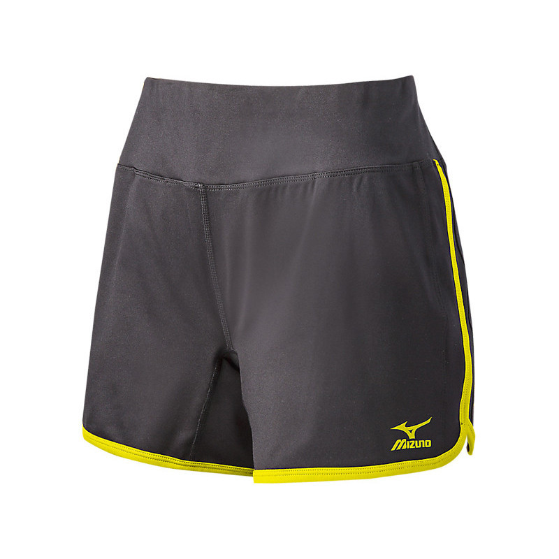 Mizuno Women's Elite 9 Training Short - Charcoal/Lemon