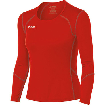 Asics Women's Volleycross Long Sleeve - Red/Steel Grey