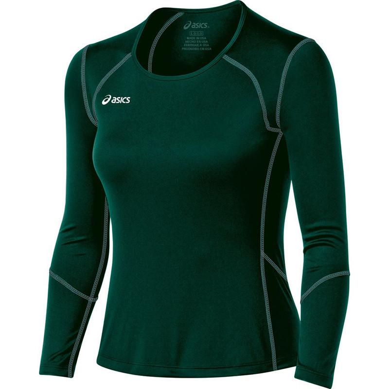 Asics Women's Volleycross Long Sleeve - Forest Green/Steel Grey