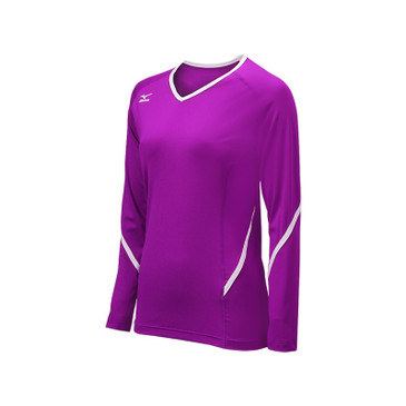 Mizuno Youth Techno Generation Long Sleeve Jersey - Electric Purple/White