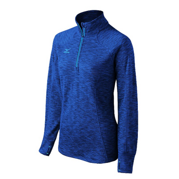 Mizuno Women's Flex 1/2 Zip Top - Heathered Royal/Diva Blue