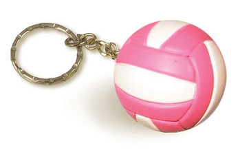 Pink and White Volleyball Keychain