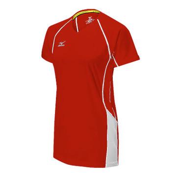 Mizuno Women's Elite 9 Classic Newport Short Sleeve Jersey- Red/White