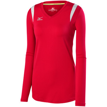Mizuno Women's Balboa 5.0 Long Sleeve Jersey - Red/Silver