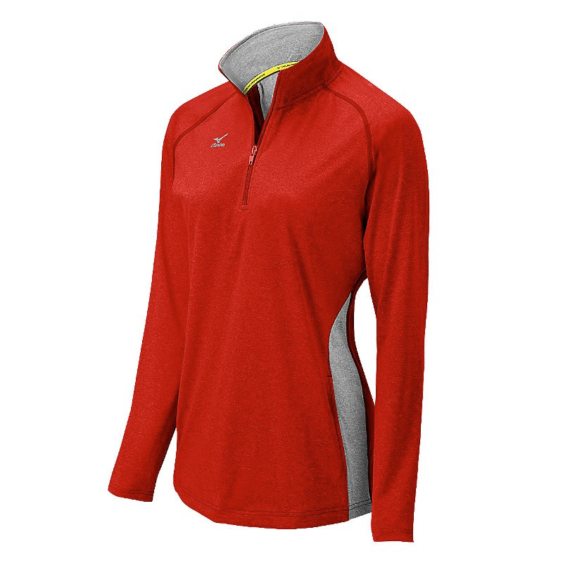 Mizuno Women's Elite 9 Fire 1/2 Zip Jacket - Heathered Red/Grey