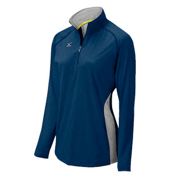 Mizuno Women's Elite 9 Fire 1/2 Zip Jacket - Heathered Navy/Grey