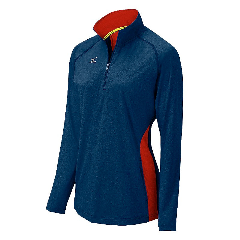 Mizuno Women's Elite 9 Fire 1/2 Zip Jacket - Heathered Navy/Red