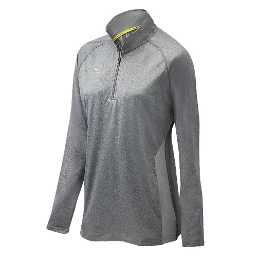 Mizuno Women's Elite 9 Fire 1/2 Zip Jacket - Heathered Black/Grey
