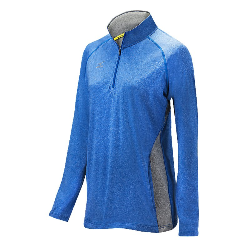 Mizuno Women's Elite 9 Fire 1/2 Zip Jacket - Heathered Royal/Grey