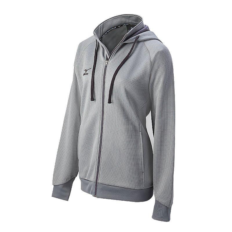 Mizuno Women's Pro Full Zip Hoody - Grey/Charcoal