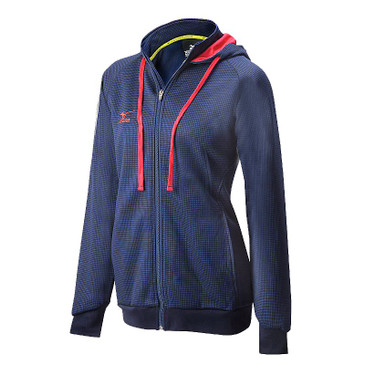 Mizuno Women's Pro Full Zip Hoody - Navy/Red
