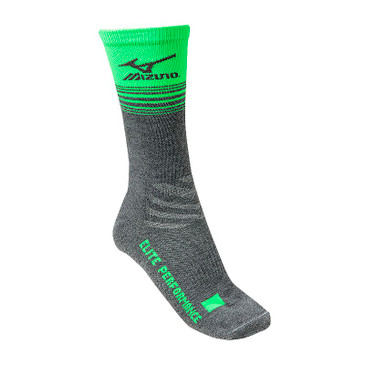 Mizuno Elite 9 Retro Crew Sock - Heathered Grey/Electric Green