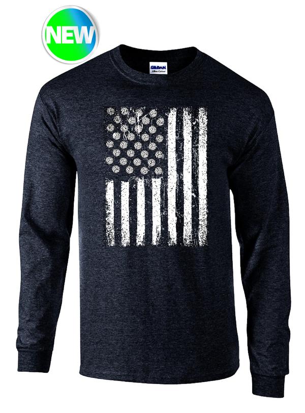 USA VB Flag LS- Black Heather