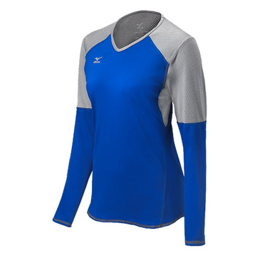 Mizuno Women's Techno Volley VI LS Jersey- Royal/Silver