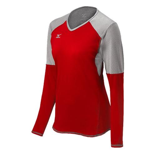 Mizuno Women's Techno Volley VI LS Jersey- Red/Silver