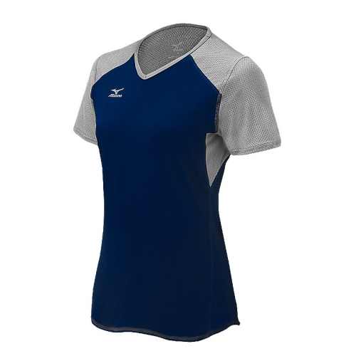 Mizuno Women's Techno Volley VI SS Jersey- Navy/Silver