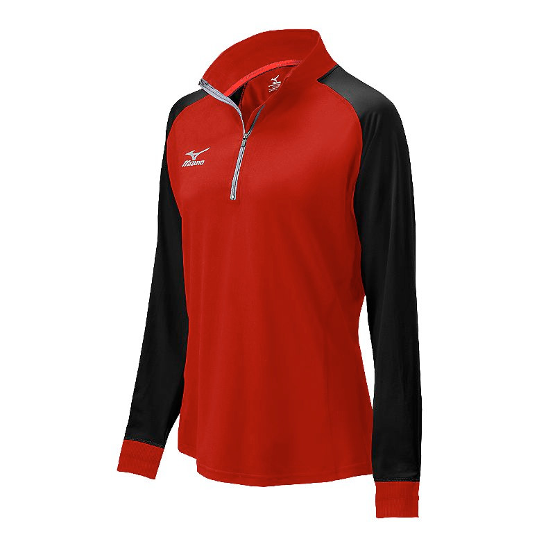 Mizuno Youth Elite 9 Prime 1/2 Zip Jacket - Red/Black