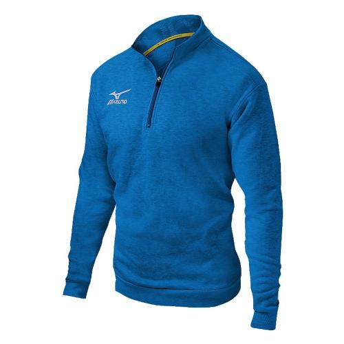 Mizuno 1/2 Zip Fleece Pullover- Heathered Diva Blue