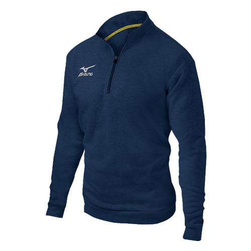 Mizuno 1/2 Zip Fleece Pullover- Heathered Navy