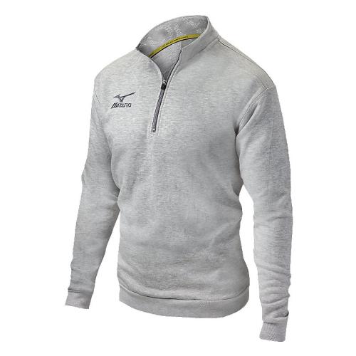 Mizuno 1/2 Zip Fleece Pullover- Heathered Light Grey
