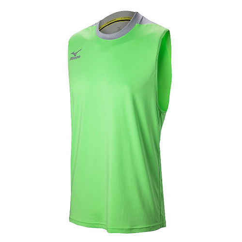 Mizuno Men's Cutoff Jersey- Heathered Electric Green/Silver