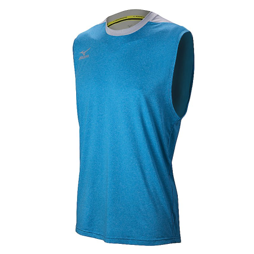 Mizuno Men's Cutoff Jersey- Heathered Dude Blue/Silver