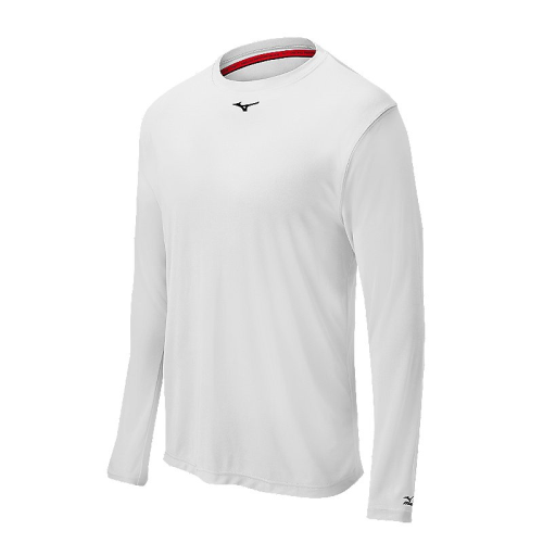 Mizuno Men's Comp Long Sleeve Crew- White